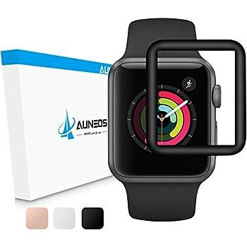 『全面保護』AUNEOS Apple Watch Series 3フィルム 42mm Apple Watch 3 ガラスフィルム 炭素繊維 気泡レス 【オリジナル製品 】 高透過率 耐指紋 日本製素材旭硝子 硬度9H アップル ウォッチ シリーズ3 強化ガラス (Series 3 42mm, 黒)