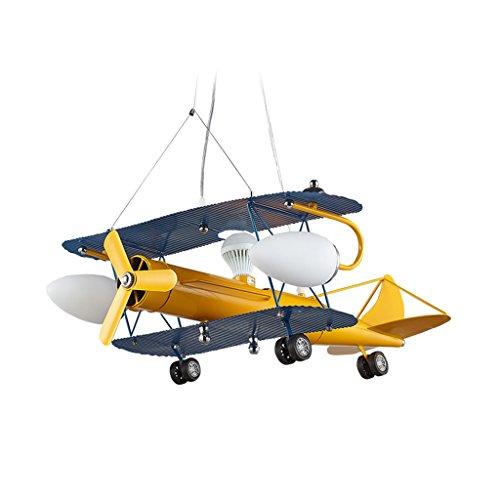 ASL 航空機シャンデリア、LED照明子供部屋ライトボーイベッドルームシャンデリアイエロー3ヘッドE27 HAPPY ( サイズ さいず : 65*67CM )