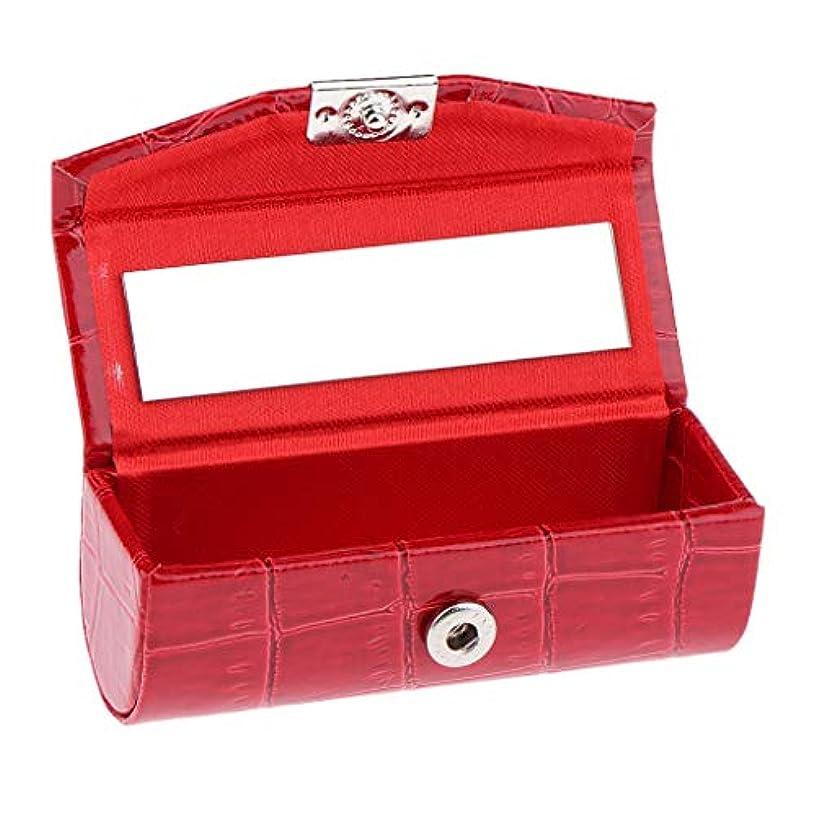 ディーラー授業料同級生IPOTCH レザー リップスティックケース 口紅ホルダー ミラー 収納ボックス 多色選べ - 赤