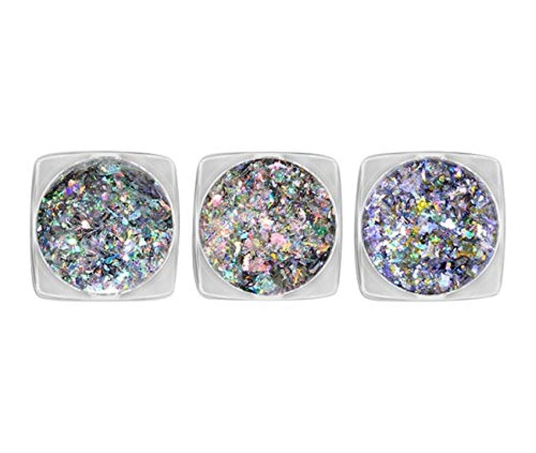 気配りのあるファッション分類するTianmey 3ボックスネイルアートホログラフィックレーザーグリッタースパンコールギャラクシーネイル紙吹雪玉虫色フレークパウダーの装飾