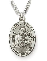 カスタマイズ可能なスターリングシルバー楕円形Saint Joseph Fathersメダルの守護、7 / 8インチ、Includes Personalization