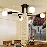 Industrial Vintage Iron Metal Flush Mount Black Art Deco Ceiling Light Retro Fixture Chandeliers Pendant Lamp for Kitchen, Loft, Dining Room, Bedroom (4 Heads)