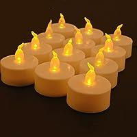 LED キャンドルライト ホワイト 電気ろうそく パーティー装飾 クリスマス/結婚式/誕生日などに最適 蝋燭形 LEDライト 暖色光 雰囲気を作る 電池付き オレンジ光  ティ―ライト リアル感 照明 スタンド〔12個セット〕