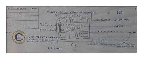Auto-Mania マリリン・モンロー&ジョー・ディマジオ直筆サイン入り小切手・額装仕上