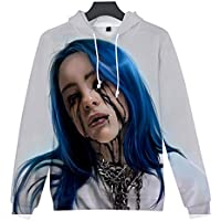 SERAPHY Unisex Billie Eilish Hoodie Women's 3D Printed Hooded Swearshirt Novelty Fan Top Pullover