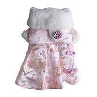 愛猫 愛犬 洋服 オシャレ バラプリント ワンピース 女の子 ドレス お姫様ワンピス 全6選択 - Pink_M