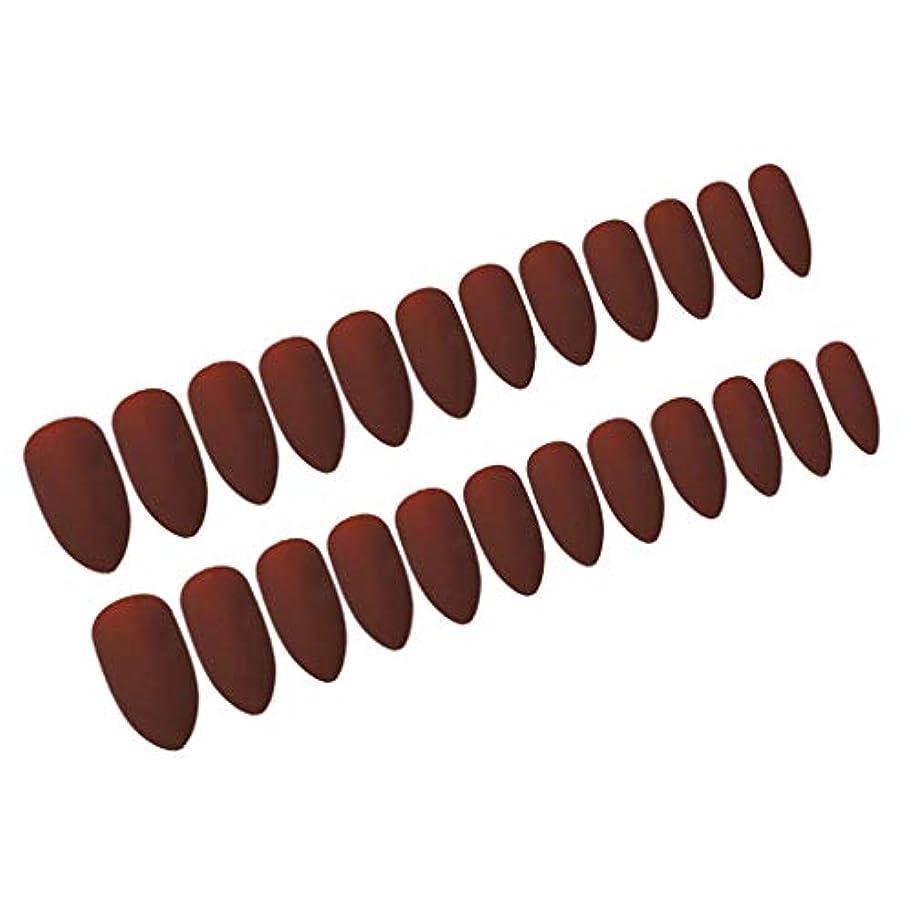 プログレッシブ証拠保有者ネイルアート ネイルチップ ロング ネイルヒント フルカバーマット 24個セット 全6カラー - ワインレッド