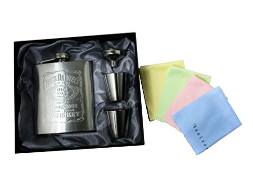 Jack Daniel's ジャックダニエルズ ステンレス製 携帯用 スキットル (スキットルセット) [並行輸入品]