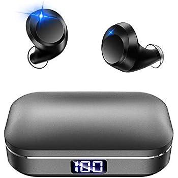 【最新 Bluetooth5.0 LEDディスプレイ】 Bluetooth イヤホン Hi-Fi 高音質 ワイヤレス イヤホン IPX7完全防水 3Dステレオサウンド CVC8.0ノイズキャンセリング AAC/SBC対応 日本語音声 ブルートゥース イヤホン 自動ペアリング 自動電源ON/OFF 両耳通話 左右分離型 音量調整可 充電式収納ケース付き マイク内蔵 Siri対応 iPhone/iPad/Android適用 (グレー)
