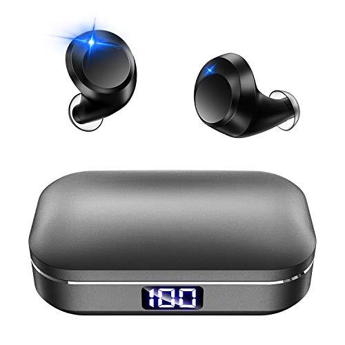 最新 Bluetooth5.0 LEDディスプレイ Bluetooth イヤホン Hi-Fi 高音質 ワイヤレス イヤホン IPX7完全防水 3Dステレオサウンド CVC8.0ノイズキャンセリング AAC/SBC対応 日本語音声 ブルートゥース イヤホン 自動ペアリング 自動電源ON/OFF 両耳通話 左右分離型 音量調整可 充電式収納ケース付き マイク内蔵 Siri対応 iPhone/iPad/Android適用 (グレー)