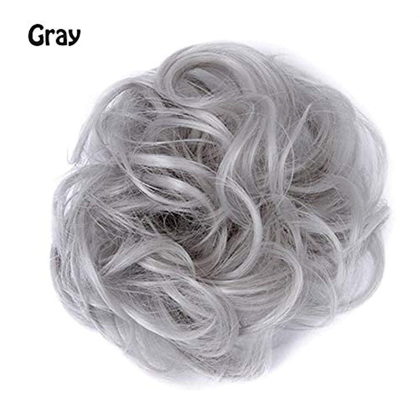 アスリート大量敬意乱雑な髪のお団子シュシュの拡張機能、ポニーテールシニョンドーナツアップ、女性用カーリー波状リボンアクセサリー