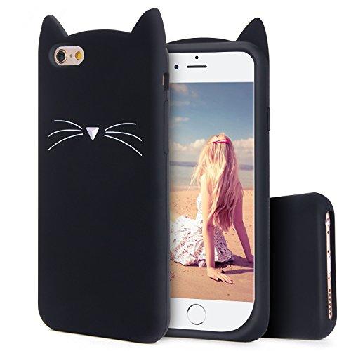 Imikoko iPhone6s ケース iPhone6 ケース シリコン iPhone6 6s case 猫 可愛い (ブラック)