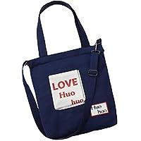 Student Tote Bag, Female Love Canvas Shoulder Bag Simple File Shopping Daul-use Handbag (Blue) Polykor