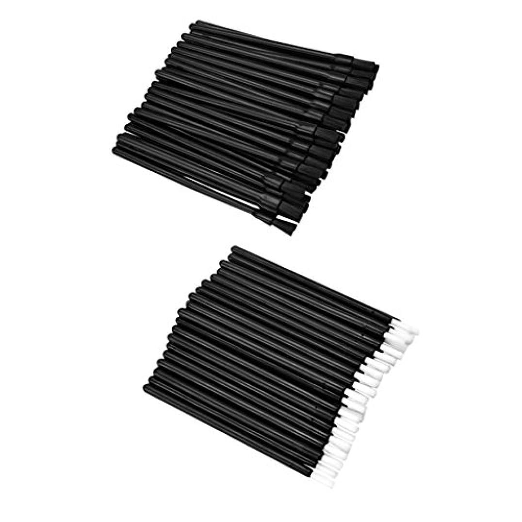 Fenteer 約100個 リップブラシ ロット 使い捨て 繊維 リップ メイクブラシ リップ ブラシ