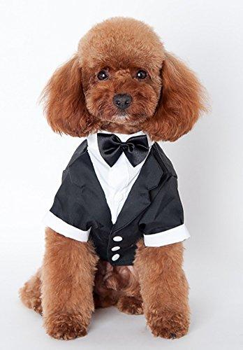 MaruPet(マルペット)ペット用 犬服猫服タキシード 蝶ネクタイ付き 可愛いペットもフォーマルにドレスアップ ブラックM