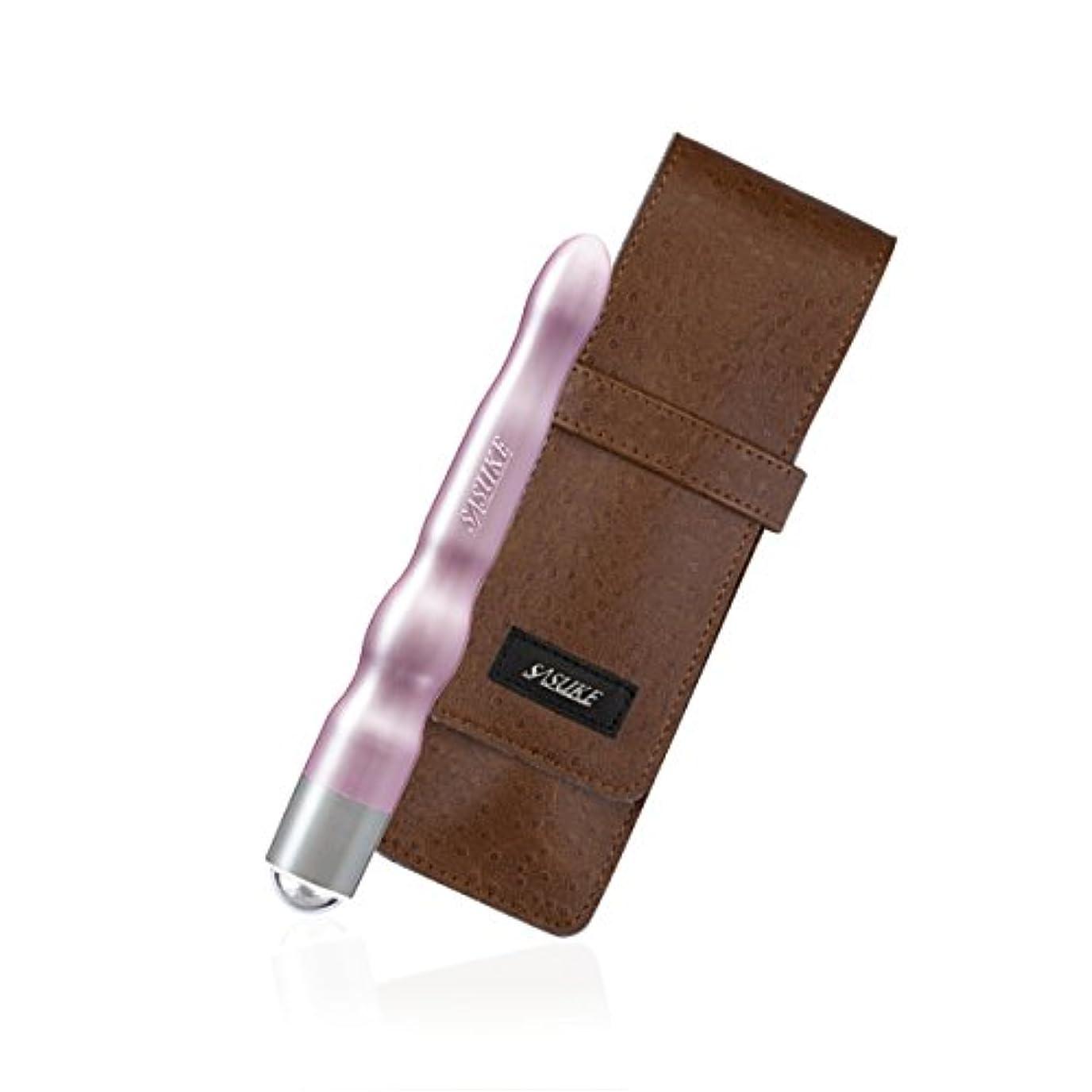 隔離技術的な広告するSASUKE ツボ押しローラー (ローズピンク)+ 専用ケース (クラッシックブラウン)セット