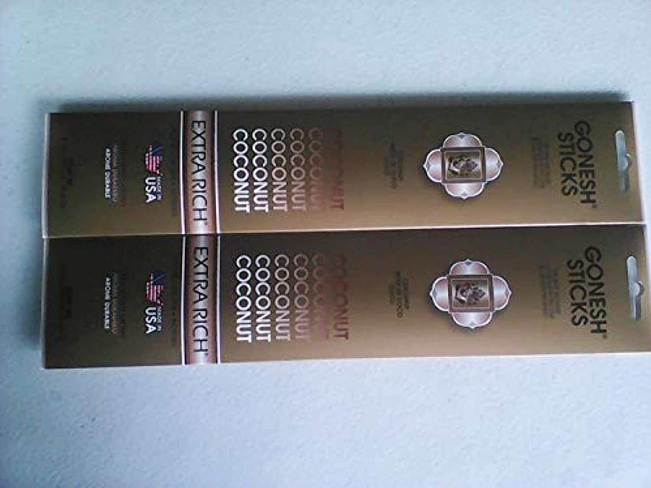 引き渡す大使館実行可能Gonesh Incense Sticks Coconut 2パックの20 Sticks