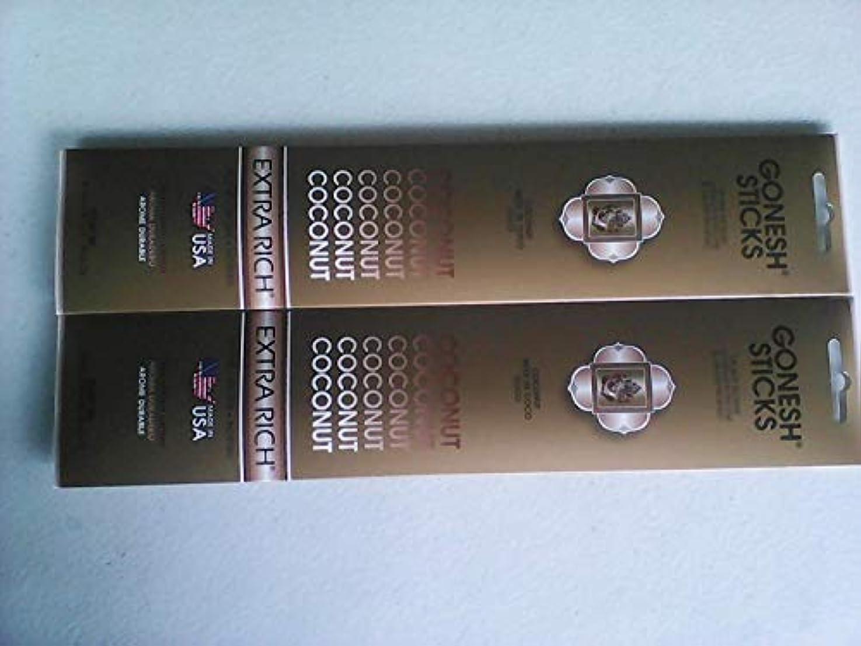不安定騒ぎ系統的Gonesh Incense Sticks Coconut 2パックの20 Sticks