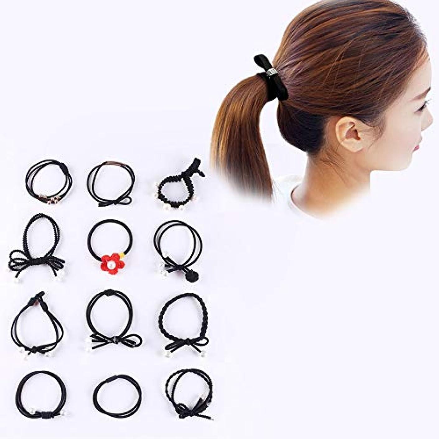 失望トレイル生産性Hairpinheair YHM 12 PCS/箱入りシンプルクリエイティブレディパールちょう結びスタイルヘアバンド(ブラック) (色 : Black)