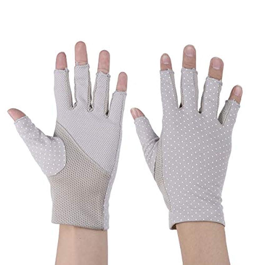 症状優先トークHealifty 1ペア日焼け止め手袋ワークアウトミトンハーフフィンガー紫外線保護手袋用サイクリンググレー
