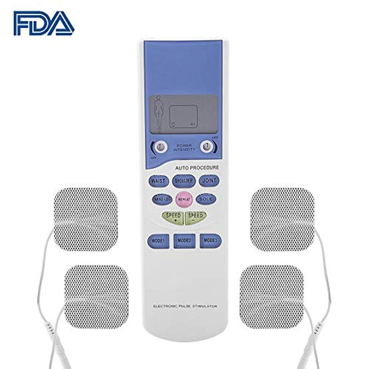 すでに大事にする申込みFDA電子パルスマッサージャー 装置10モード、多機能リモコンEMSマッサージャー電極パッド(背中/肩/首の痛みの軽減用)