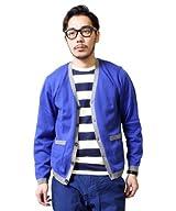 Cotton V-neck Cardigan 38-15-0035-048: Blue