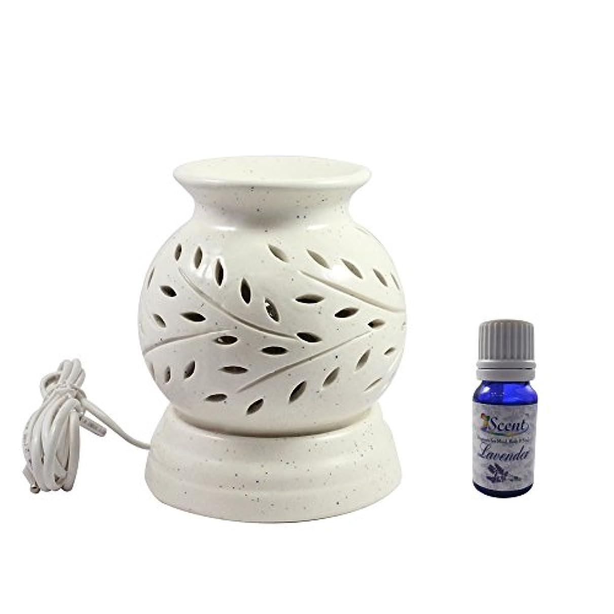 反対した違法保証家庭装飾定期的に使用する汚染されていない手作りセラミックエスニック電気アロマディフューザーオイルバーナージャスミンフレグランスオイル|良質白い色の電気アロマテラピー香油暖かい数量1