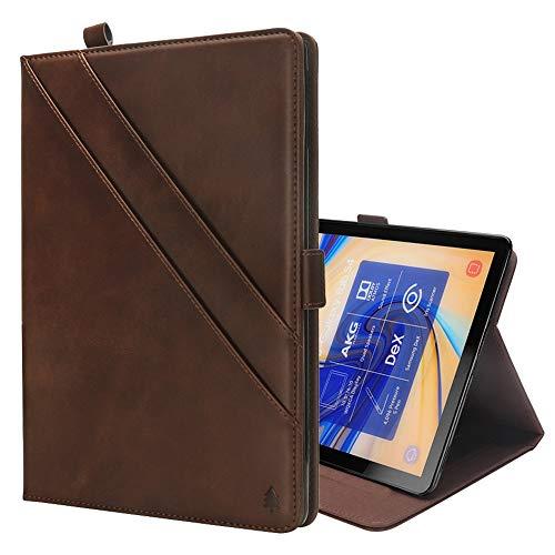 GzPuluz 保護ケース PCアクセサリー Galaxy Tab S4 10.5 T830 / T835用カードスロット&フォトフレーム&ペンスロット付き、水平フリップダブルホルダーレザーケース (色 : Dark Brown)