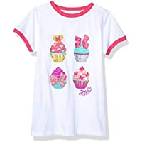 JoJo Siwa Girls Cupcakes Short Sleeve Ringer Tee Short Sleeve T-Shirt - White