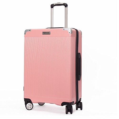 クロース(Kroeus) スーツケース ファスナー式 大型キャスター 8輪 静音 キャリーケース 大容量 軽量 旅行 出張 TSAロック搭載 エンボス加工 傷に強い ソフトなハンドル 取扱説明書付 L ピンク