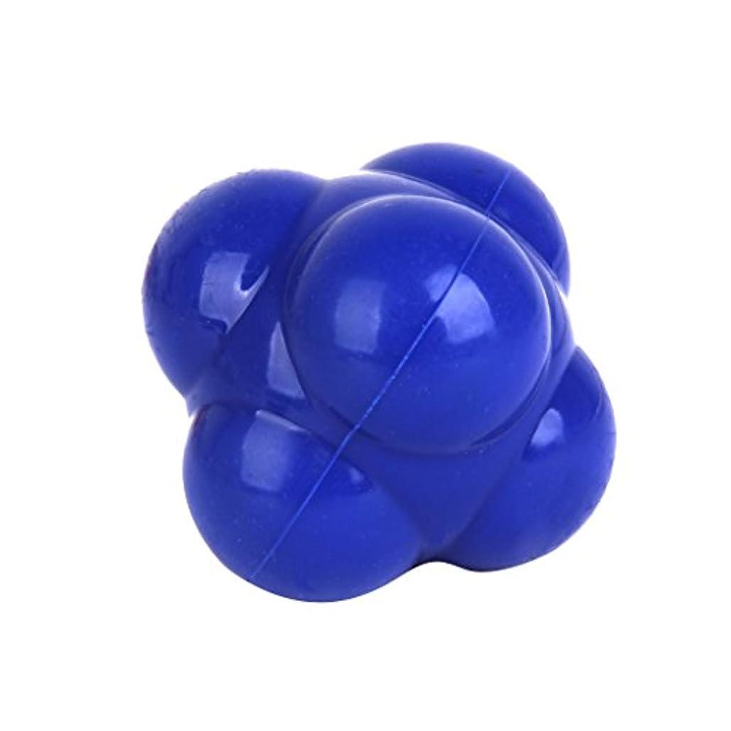 工場札入れ典型的な【ノーブランド品】六角反応ボール 六角マッサージボール 反射運動トレーニング 青