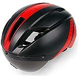 Osize リムーバブルゴーグル付きサイクルバイクヘルメットバイクレーシングヘルメット調節可能なアダルト自転車ヘルメット(ブラック+レッド)