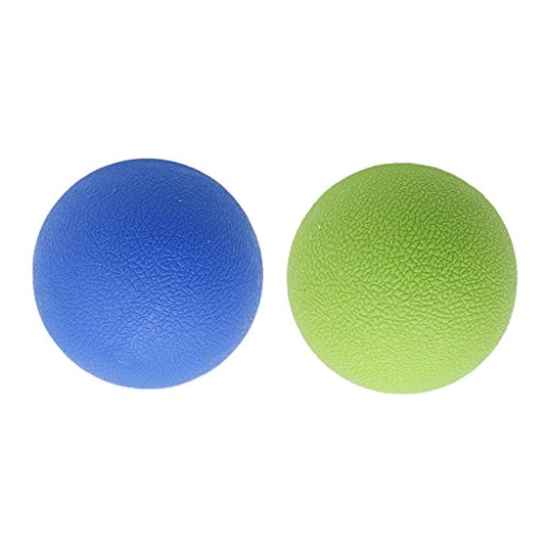Baoblaze 2個 マッサージボール ラクロスボール トリガ ポイントマッサージ 弾性TPE 多色選べる - ブルーグリーン