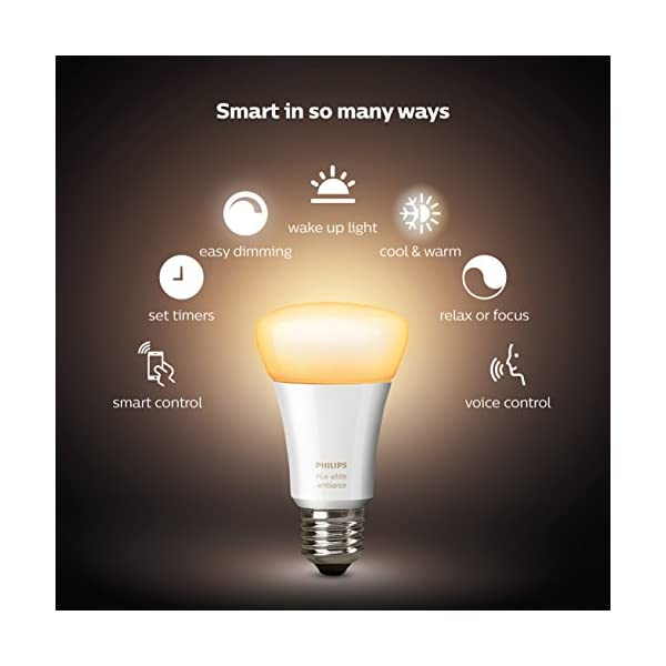 Philips Hue White Ambiance Smart Bulb Starter Kit - Edison Screw E27 (Compatible with Amazon Alexa, Apple HomeKit, and Google Assistant) 2