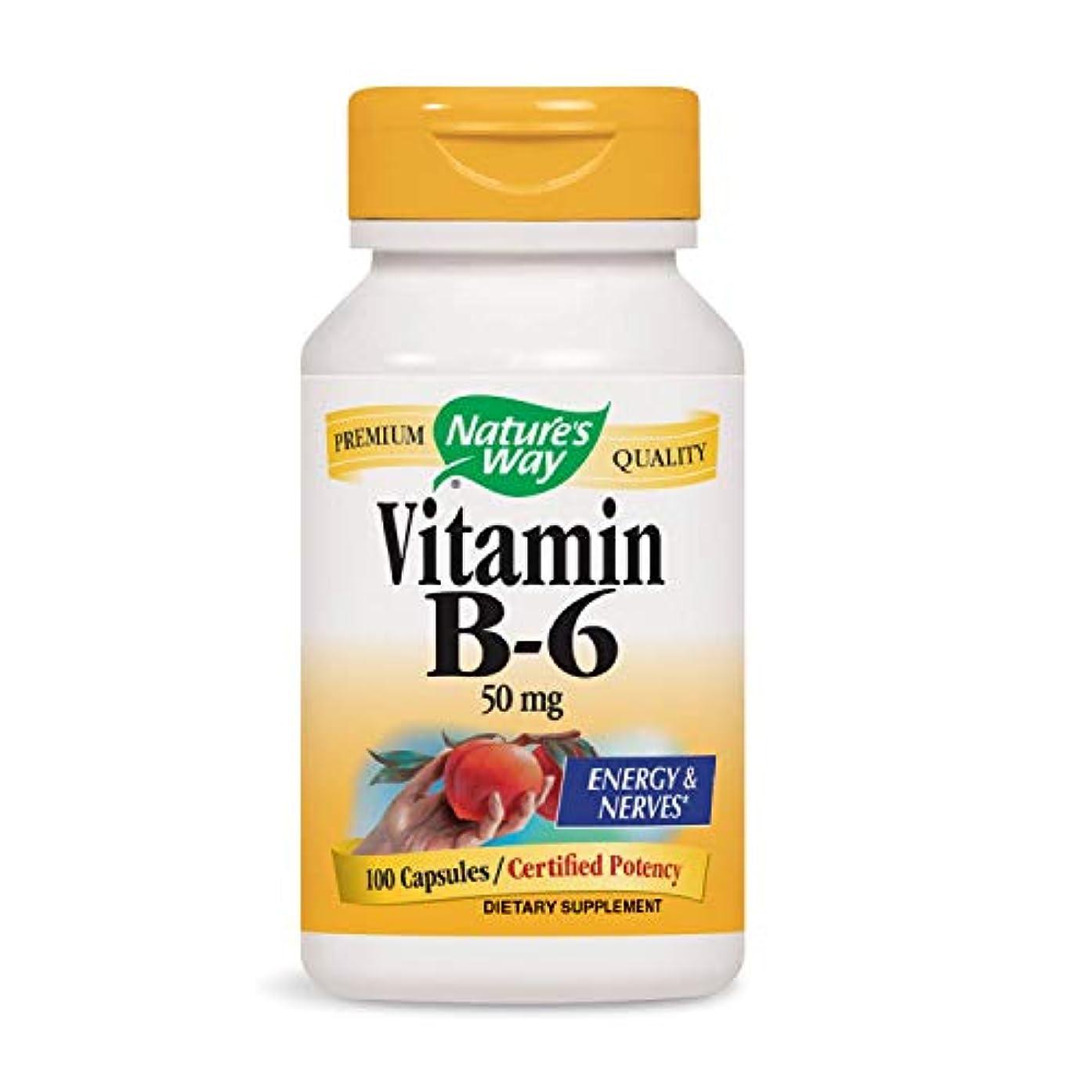 講堂例示するスピーカーNature's Way - ビタミンB6 100 mg。100カプセル