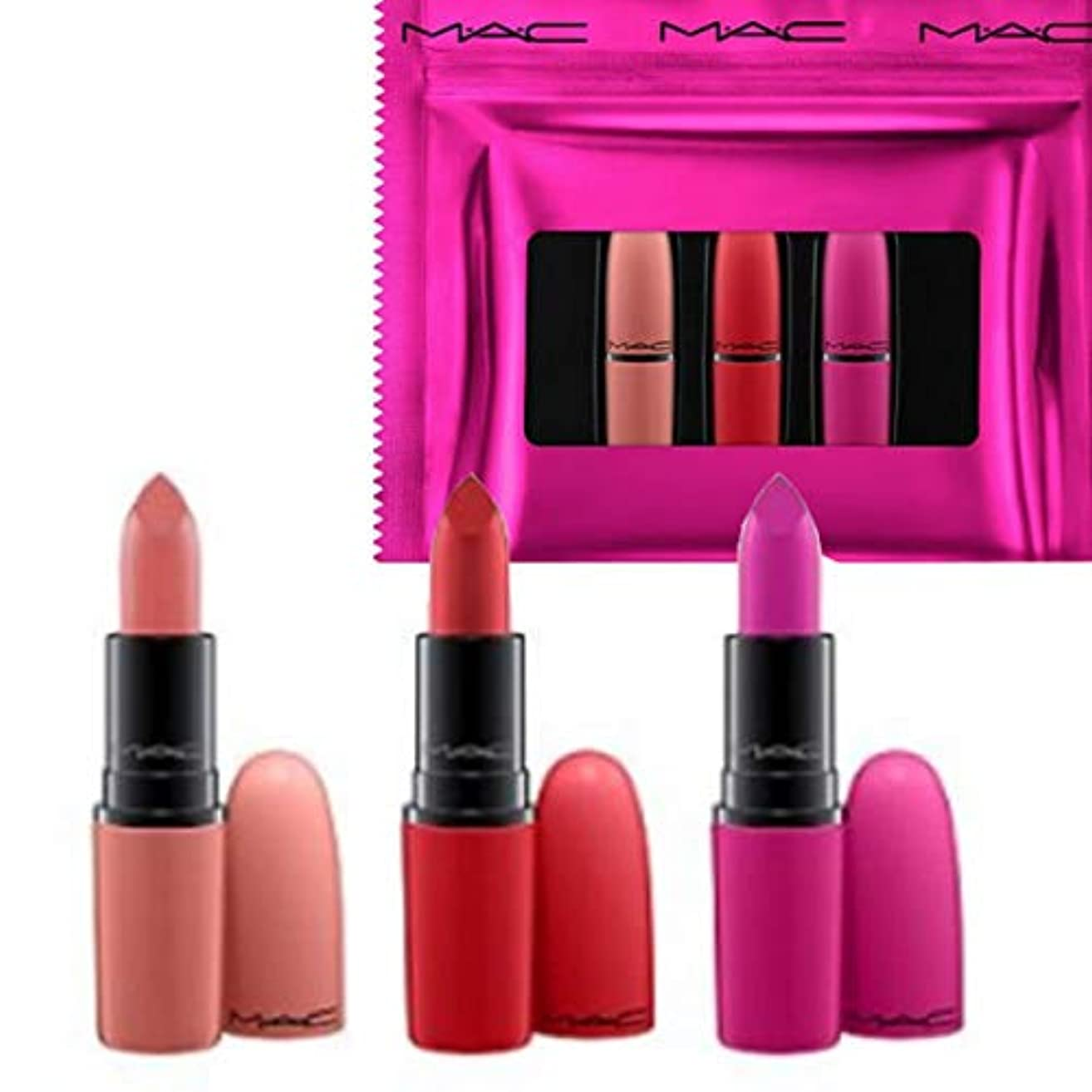 トランスペアレントシャックル抑圧者M.A.C ?マック, Limited Edition 限定版, 3-Pc. Shiny Pretty Things Lip Set - Russian Red/Kinda Sexy/Flat Out Fabulous...