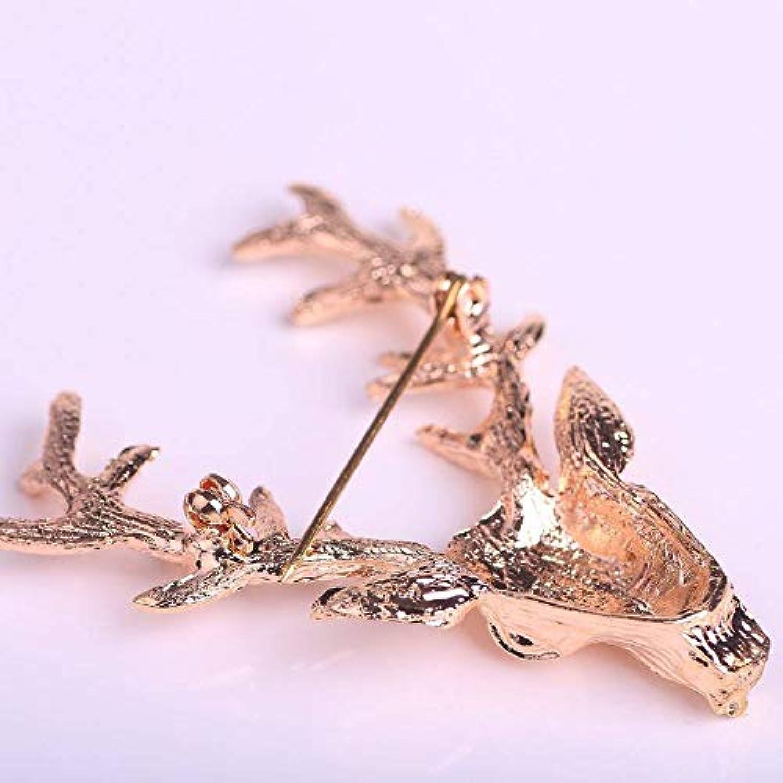 ブローチ 胸飾り ゴールデン 鹿 ヘッド ブローチ 動物 アニマル ゴージャス アクセサリー メンズ レディース キラキラ ジュエリー