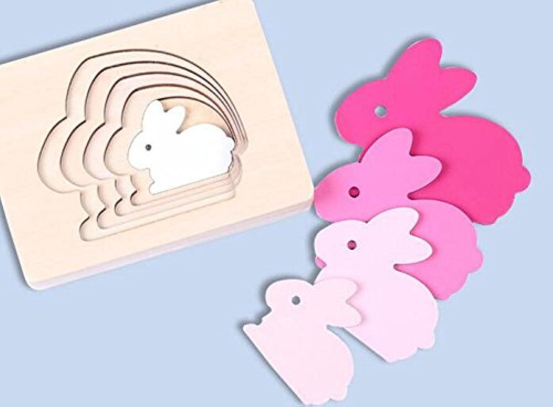 HuaQingPiJu-JP 創造的な木の多層パズルアーリーラーニング番号の形の色の動物のおもちゃキッズ(ウサギ)のための素晴らしいギフト