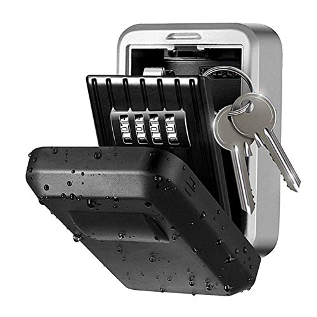粗い蒸気無関心Key Storage Box,ZOZOE Wall Mount Key Lock Box - Strong, Metal, Outdoors 4 Digit Combination Wall Mount Key Safe...