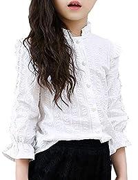02159c0ae6193 Aduni子供服 ブラウス 女の子 ブラウス 白ブラウス 無地 可愛い 長袖シャツ キッズトップス フォーマル 結婚