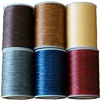 蠟引き糸 6色 セット 線径 0.8mm 長さ 100m レザークラフト ロウ引き糸 手芸 手縫い [並行輸入品]