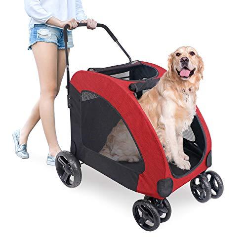 ペットカート 犬用 キャリーカート ペットバギー 折りたたみ式 大型犬 多頭中小型犬 犬用 猫用 ドッグカート (レッド)