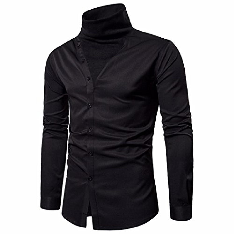 ノベルティメンズドレスシャツ、メンズブラウススリムフィット無地カジュアルダブルレイヤボタンタートルネックシャツ Asian:Large ホワイト WM-MEN