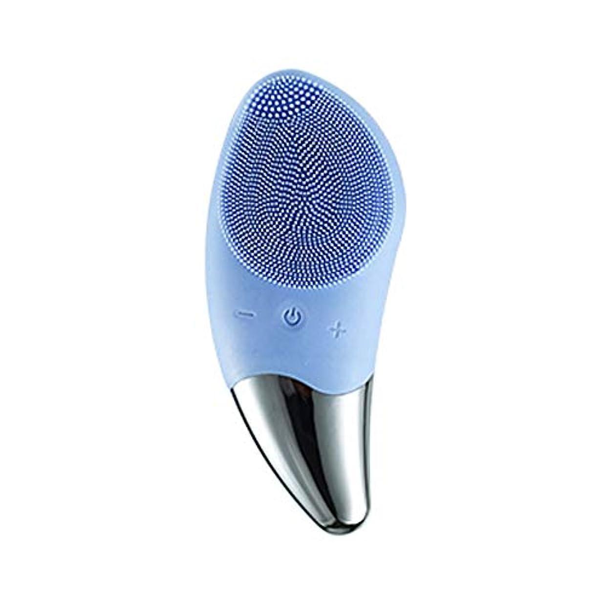 荒涼としたタップ確認するLYX オールスキンタイプクリーナーエレクトリックシリコーンクリーナー洗顔ケアマッサージ美容インストゥルメント (Color : 青)