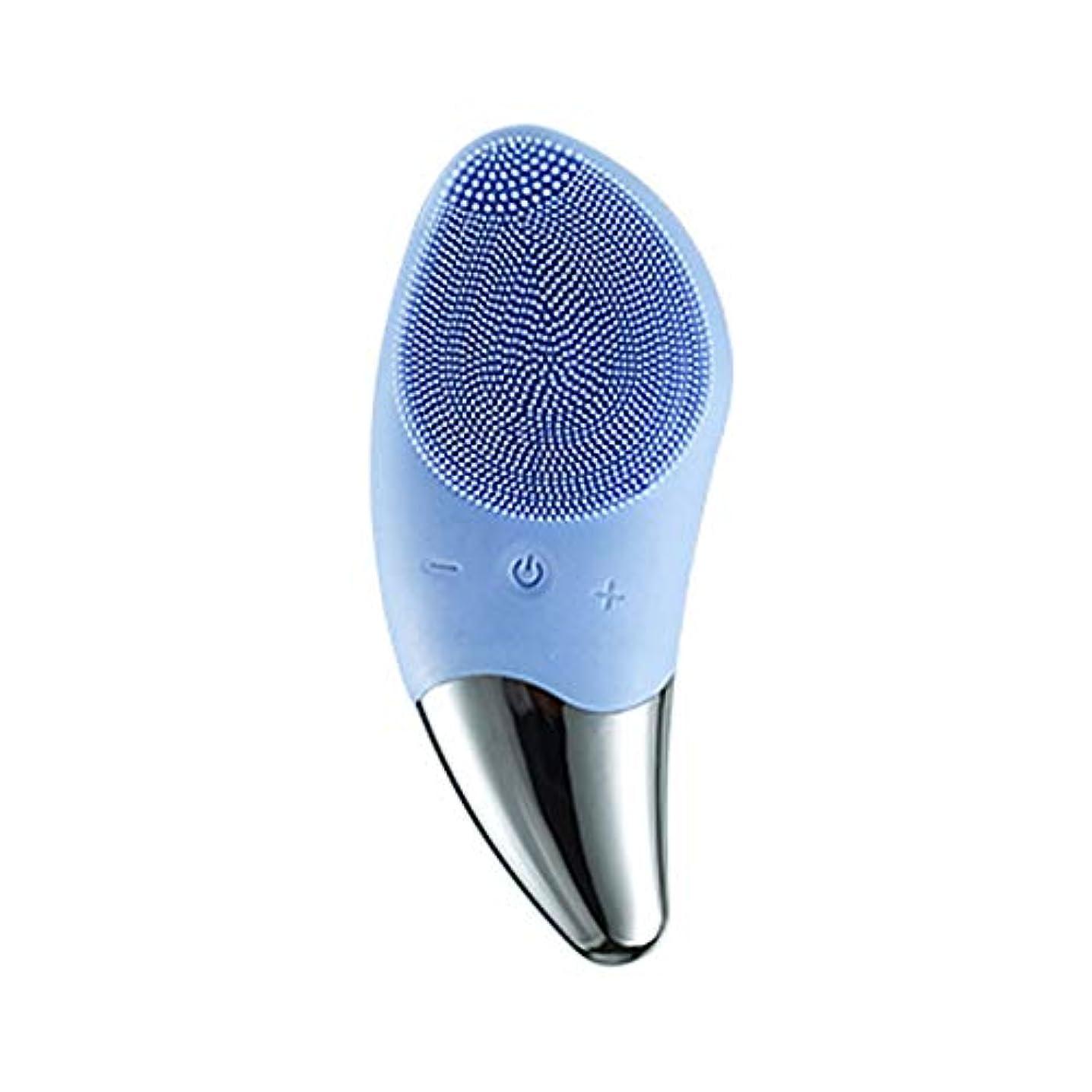抑止する見つけた色合いLYX オールスキンタイプクリーナーエレクトリックシリコーンクリーナー洗顔ケアマッサージ美容インストゥルメント (Color : 青)