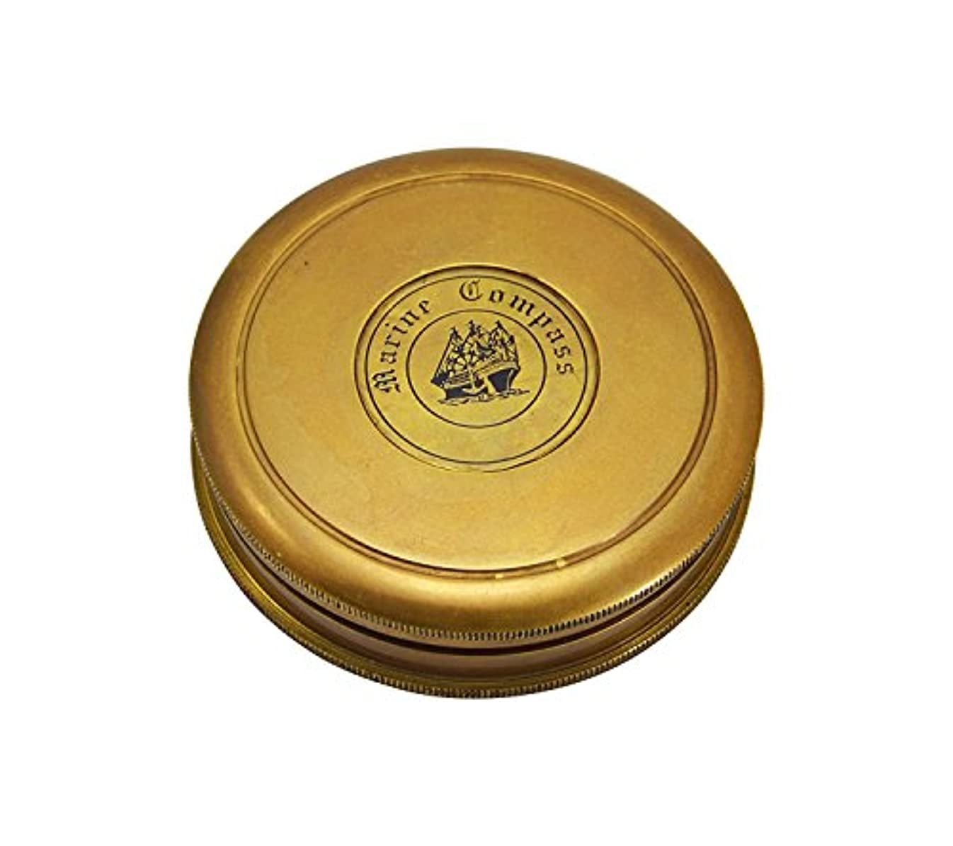 モニター名詞ジャベスウィルソン3インチ真鍮Marineポケットコンパス、ロバート?フロスト蓋の内側を詩/詩コンパス/ギフトSundial