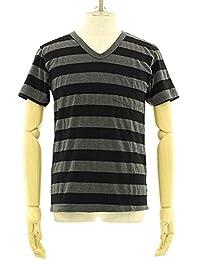 (ベルバシーン) Velva Sheen 胸ポケット付き ワイドボーダー VネックTシャツ [161406] BLACK/CHA M