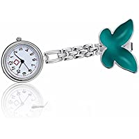 Fashionable Watch Womens Girls Silicone Butterfly Luminous Nurse Brooch Fob Watch Brooch (Green)