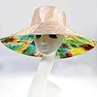 WENJUN 女性の日焼け止めビーチ幅広い釣り帽子両面帽子女性の夏の折りたたみ大きなサン帽子タイドハット旅行サンスクリーンビーチハット (色 : ベージュ)