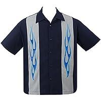 Steady Clothing Flame N Hot Panel Men's Navy Bowling Shirt Rat Rod Retro